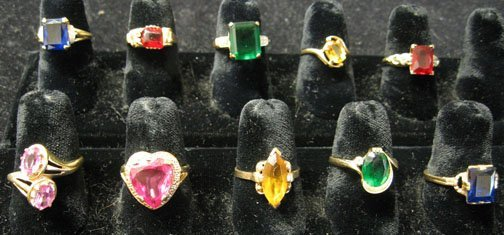 15: Ten Gold Lady's Rings, , All set with assorted colo