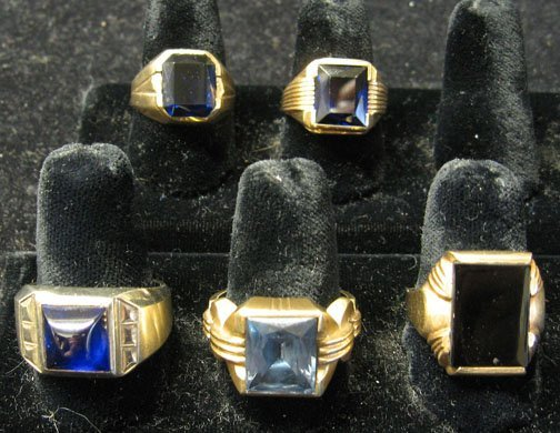 16: Five Blue Stone Gentlemans Rings, , Including 4 14k