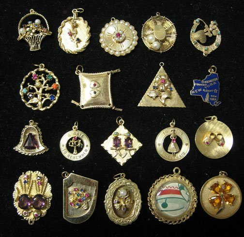 17: Group of 14k Charms, , With most of thepieces inset