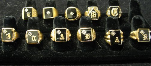 20: Eleven piece 14k. Gold Mens Signet Rings, , Styled