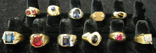 22A: Eleven piece Group of Mens 14k. Diamond and Colore