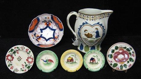 127: Seven piece assorted ceramic group, 19th c., Inclu