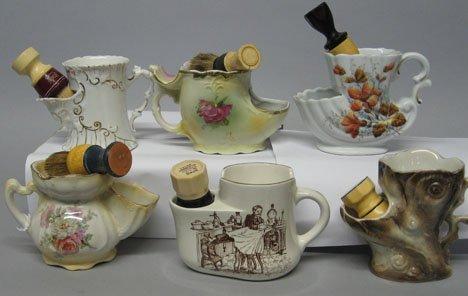 128: Six assorted scuttle type shaving mugs, , Includin