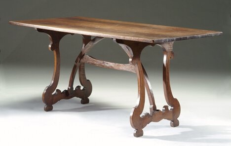 6: ITALIAN WALNUT REFECTORY TABLE 17th c. & later Top a
