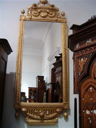 GUSTAVIAN CARVED GILTWOOD PIER MIRROR Late 18th / ea