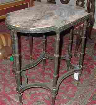 PAIR OF BRONZE & MARBLE SIDE TABLES The rounded rec