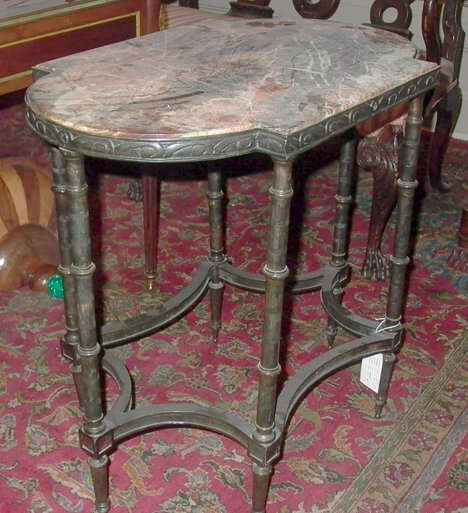 12: PAIR OF BRONZE & MARBLE SIDE TABLES The rounded rec