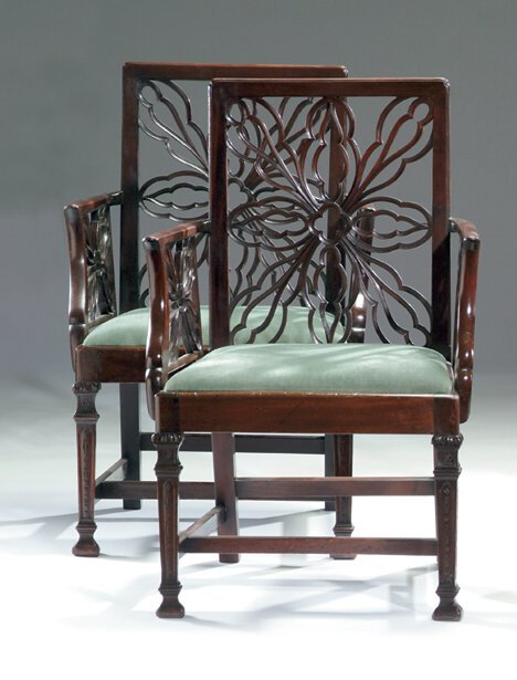 15A: GOOD PAIR OF GEORGE III-STYLE MAHOGANY ARMCHAIRS 1