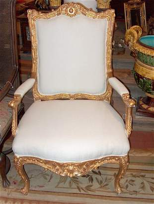 PAIR OF 18TH CENTURY-STYLE GILTWOOD ARMCHAIRS The p