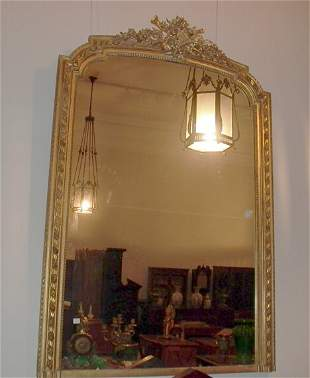 VICTORIAN CARVED GILTWOOD OVERMANTEL MIRROR 19th c.