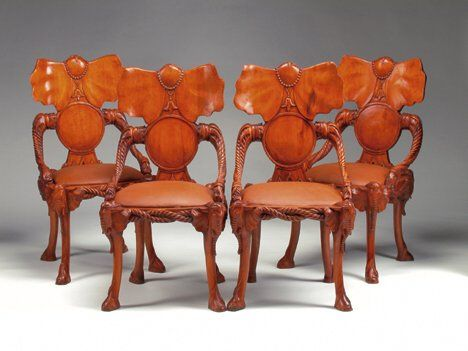 SET OF FOUR CONTINENTAL CARVED WALNUT SIDE CHAIRS T