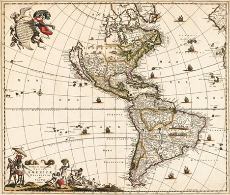 1491: 1 piece. Hand-Colored Engraved Map. Wit, Frederic