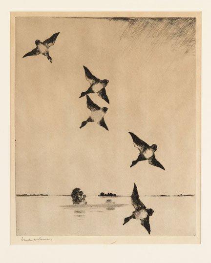 2003: FRANK WESTON BENSON, (AMERICAN 1862-1951), ON SWI