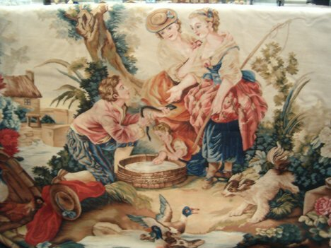 393: CONTINENTAL TAPESTRY 20th c. Figures in a Landscap