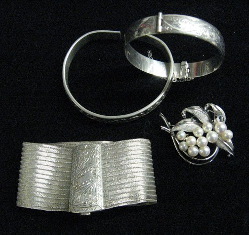 3003: Lady's Silver and Sterling Bracelets and Pearl Cl