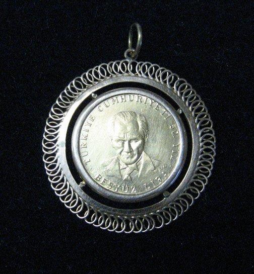 3005: Turkish Republic 75th Anniversary Coin Pendant, ,