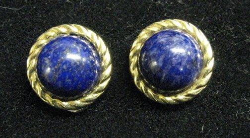 3007: A Pair of Clip Back 14k. Gold Lapis Lazuli Earrin