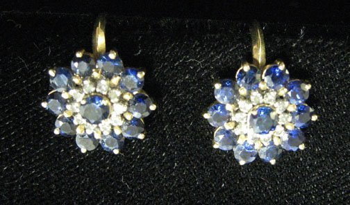 3008: Blue Sapphire Earrings from Thailand, , Stamped .