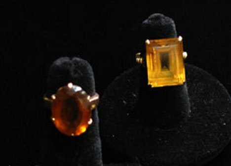 3013: Two Lady's Citrine Rings, , Two large citrine rin