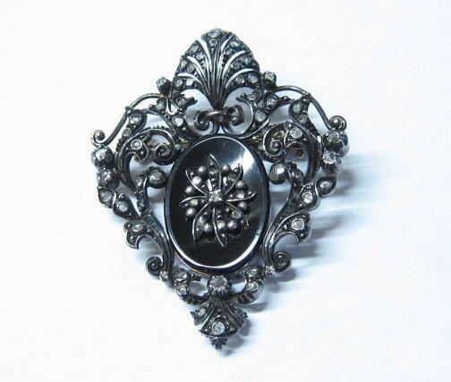 3017: Silver Gilt, Onyx and Old Mine Cut Diamond Pin, ,