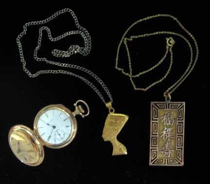 3020: Three piece gold Elgin pocketwatch, Neffertiti pe