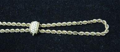 3032 Gold Rope Necklace with Pearl Slide  14 Karat y