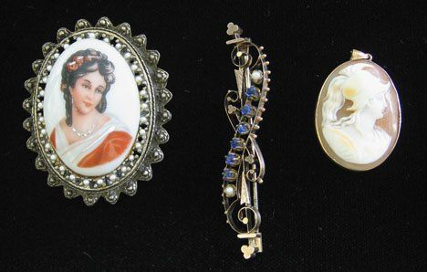 3184: Three piece Lady's Pins and Cameo Pendant, , Feat