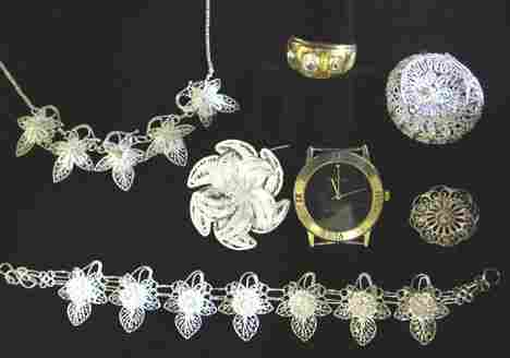 3185: Silver Filigree Jewelry, Watch Movement and Faux