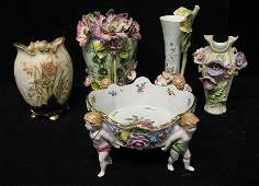 3401: Five piece Continental ceramic group, , Including