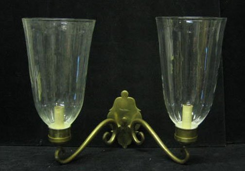 3508: Pair of Brass Twin Light Wall Sconces with Shades