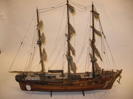 8B: Timber model of a sail ship, 19/20th century, With