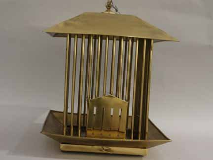9B: Brass bird cage, 20th century, Of pagoda form, with