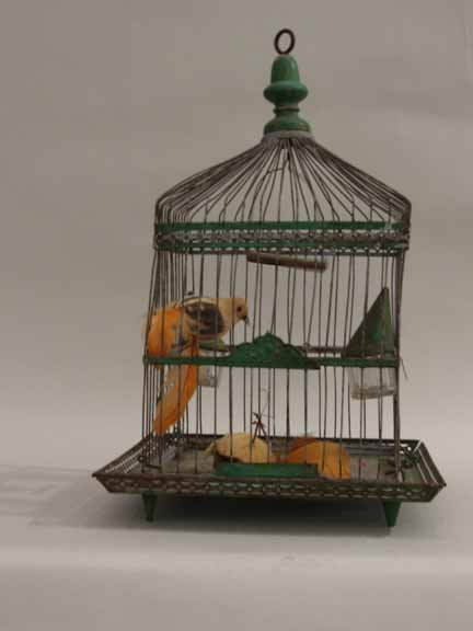 9C: Painted iron bird cage, 20th century, Of domed squa