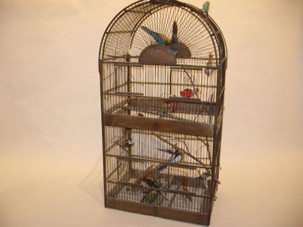10: Steel bird cage model, late 19th early 20th century