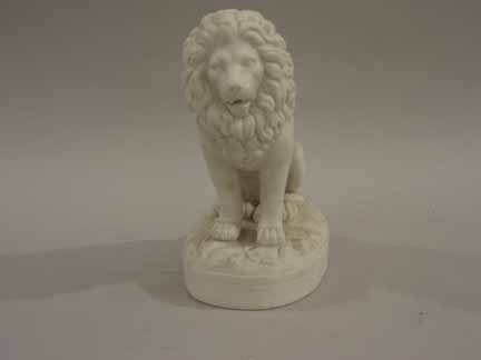 14: English parian ware model of a lion, late 19th cent