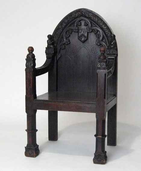 2001: Gothic Revival oak armchair, late 19th century, T