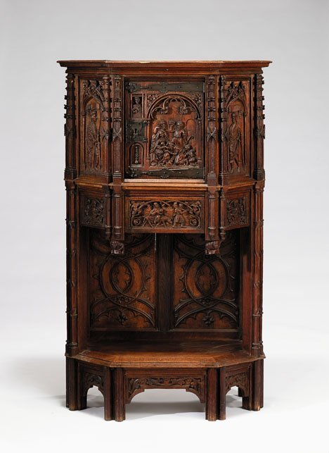 2005: Gothic Revival oak court cupboard, 19th century,