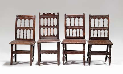 2012: Matched set of four Derbyshire oak side chairs, 1