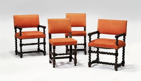 2015: Assembled set of four carved walnut chairs, Two 1