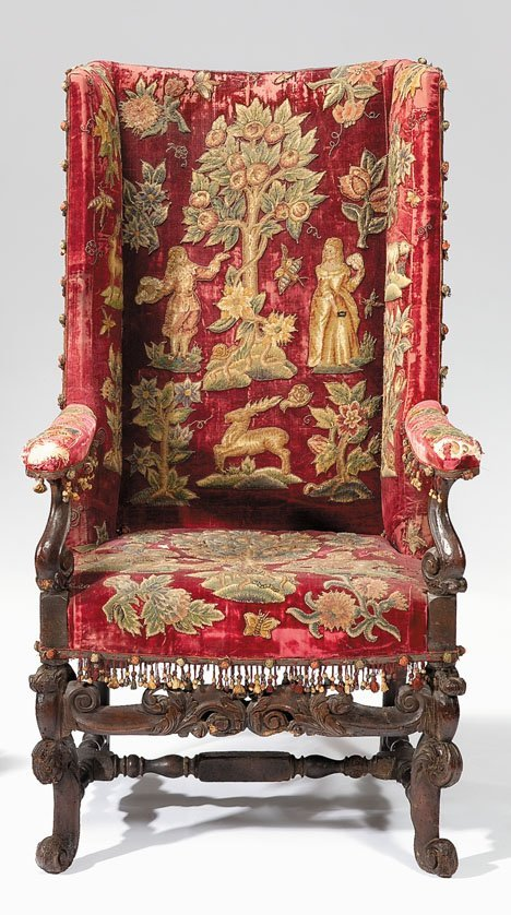 2016: Charles II walnut or beech wing armchair, circa 1