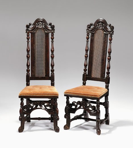 2019: Pair of Charles II walnut hall chairs, , The arch