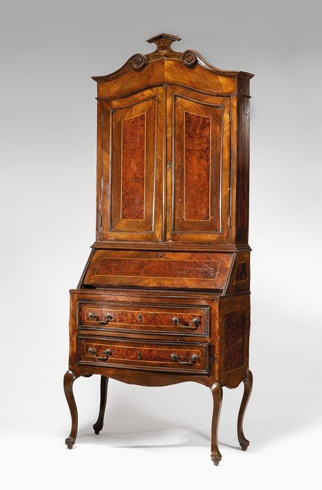 2024: Italian burl walnut and crossbanded bureau bookca