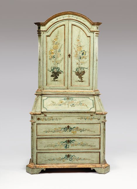 2027: Venetian painted bureau bookcase, late 19th / ear