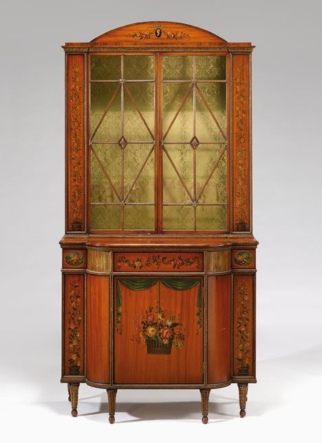 2207: Edwardian painted satinwood display cabinet, , Pa