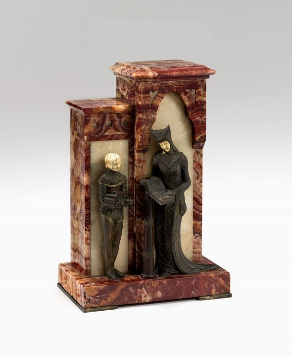 3469: French Art Deco cold painted bronze, ivory, red o