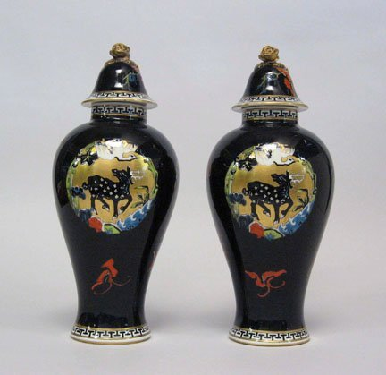 3474: Pair of Royal Worcester gilt-decorated porcelain