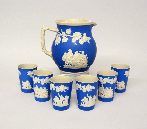 3483: Spode stoneware pitcher and six beakers, 19th cen