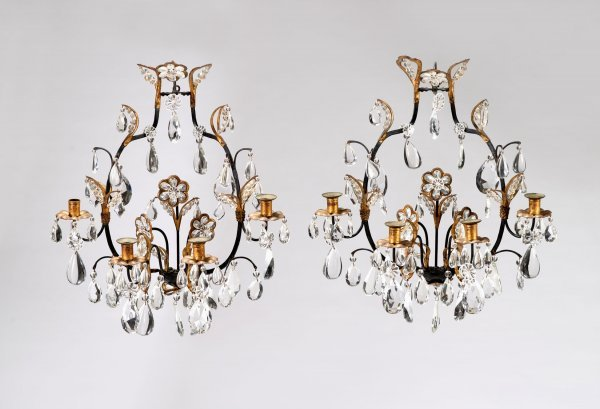 3702: Pair of Italian Rococo style gilt and patinated m