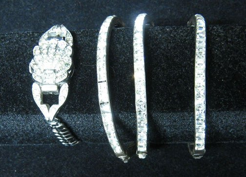 4010: Four Sterling and Rhinestone Bangles, All set wit