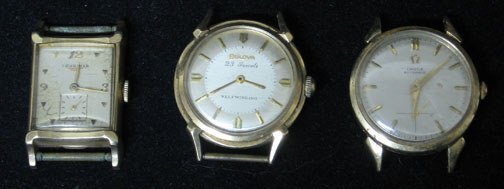 4015: Three 14k Gold Wrist Watch Movements, Including a